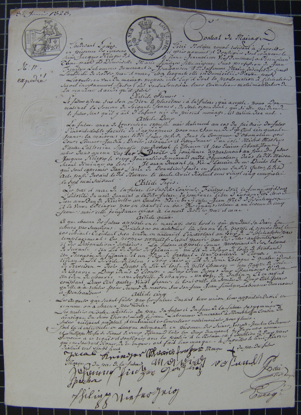 contrat de mariage de Maria Finitzer et de Jacques Krieger de 1828