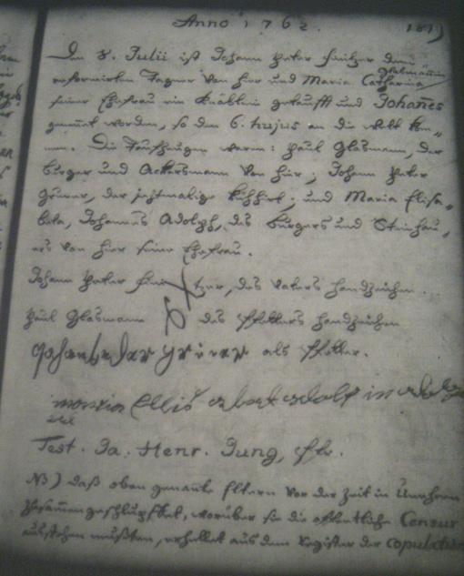 acte de baptême de Johannes Finitzer
