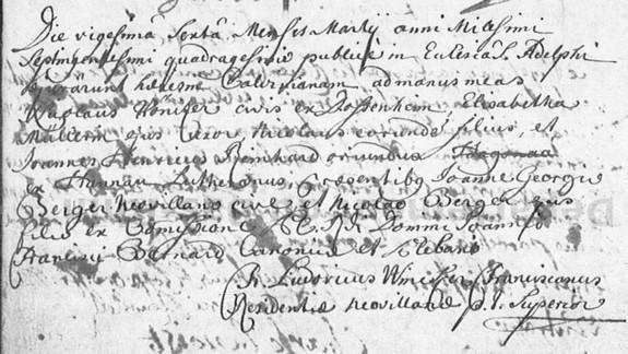 abjuration de la famille Nicolas Finitzer du 26 mars 1740