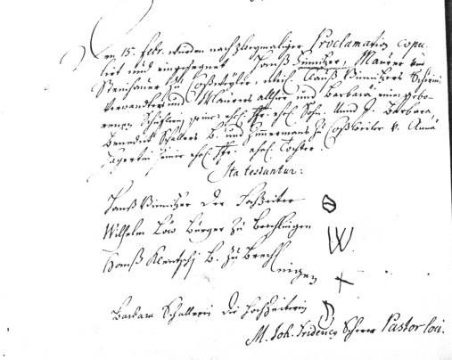Mariage de hanss finitzer en 1701