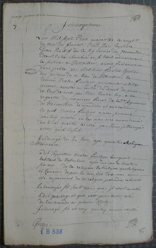 première page de l`interrogatoire de Nicolas Finitzer