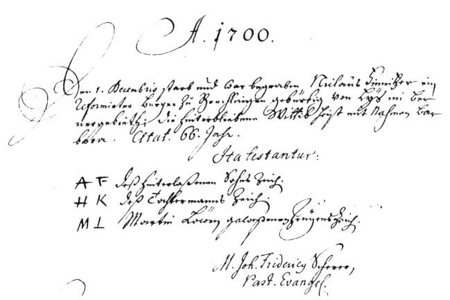 acte de sepulture de Niclauss Finitzer en 1700